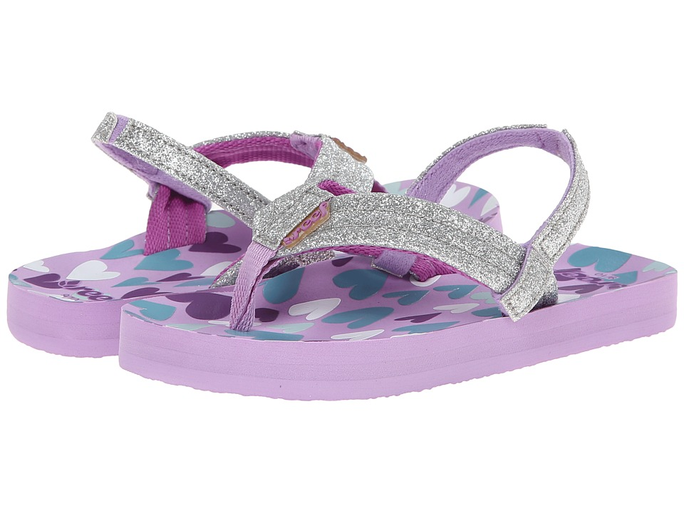 Reef Kids - Little Ahi Stars (Infant/Toddler/Little Kid/Big Kid) (Purple/Silver Hearts) Girls Shoes