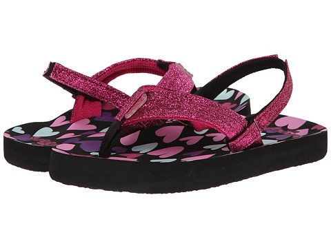 Reef Kids - Little Ahi Stars (Infant/Toddler/Little Kid/Big Kid) (Black/Hearts) Girls Shoes