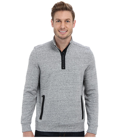 Kenneth Cole Sportswear - Long Sleeve Zip Mock Neck Pullover (Heather Grey) Men's Long Sleeve Pullover