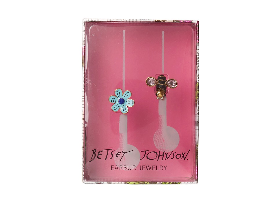 Betsey Johnson - Gifting Hostess Flower Bee Earbud Covers (Blue) Headphones