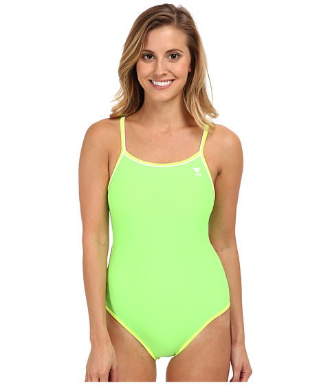 TYR - Solid Brites Reversible Diamondfit Swimsuit (Green/Purple/Yellow) Women's Swimsuits One Piece
