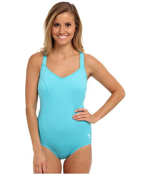 TYR - Solid Halter Controlfit Swimsuit (Blue) Women's Swimsuits One Piece