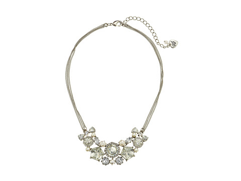 Betsey Johnson - Statement Frontal Pearl Gems Necklace (Crystal) Necklace
