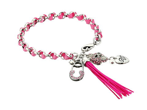 Betsey Johnson - Gifting Skull Charm Woven Bracelet (Pink) Bracelet