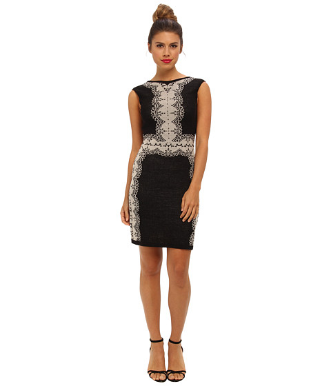 Ali Ro - Lace Dress w/ V Back (Black/Babys Breath) Women's Dress