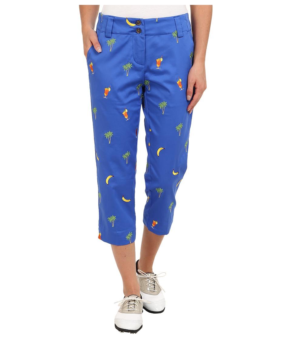 Loudmouth Golf - 5 O'Clock Capri (Blue Embroidered) Women's Capri