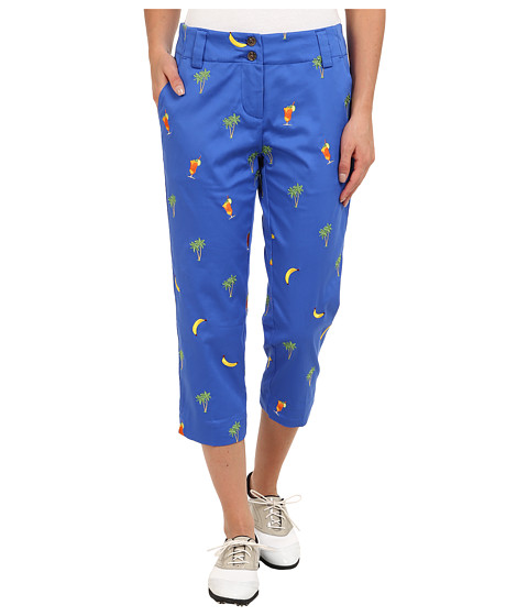 Loudmouth Golf - 5 O'Clock Capri (Blue Embroidered) Women's Capri