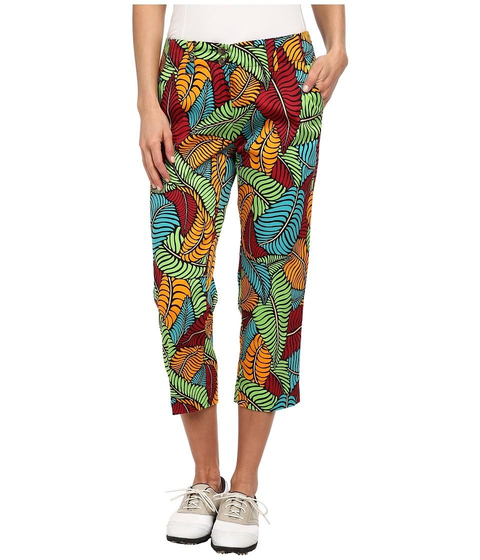 Loudmouth Golf - Fronds Klammer Capri (Purple/Orange/Green/Blue) Women's Capri