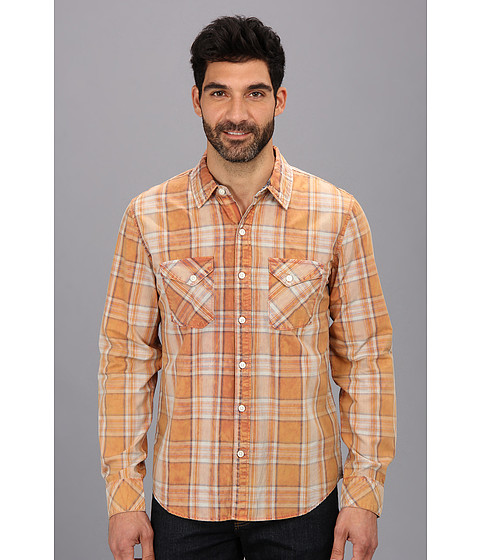 Silver Jeans Co. - L/S Plaid Shirt (Orange) Men's Long Sleeve Button Up