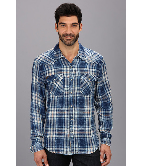 Silver Jeans Co. - L/S Plaid Shirt (Blue) Men's Long Sleeve Button Up