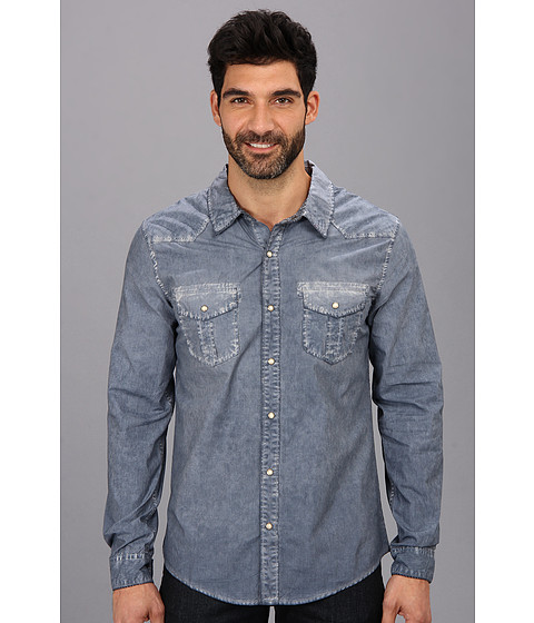 Silver Jeans Co. - L/S Y/D Stripe Shirt (Light Blue) Men's Long Sleeve Button Up