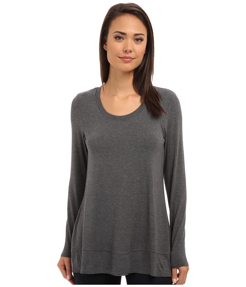 Lysse - Scoop Drape Top w/ BackBeautiful (Charcoal) Women's Clothing
