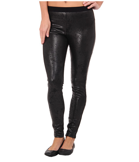 HUE - Distressed Leatherette Leggings (Black) Women's Clothing