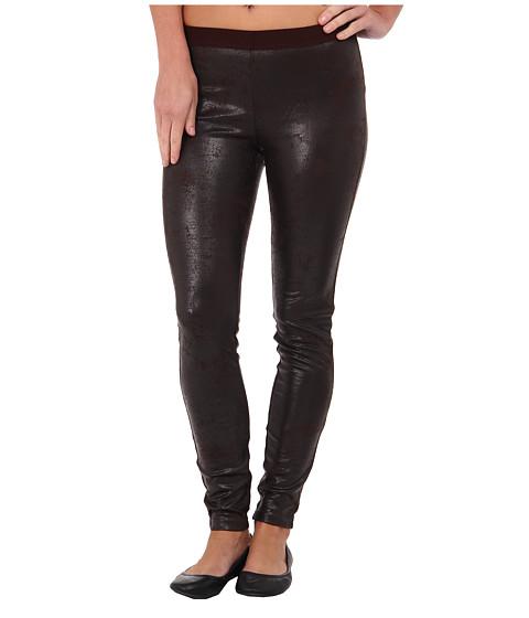 HUE - Distressed Leatherette Leggings (Espresso) Women