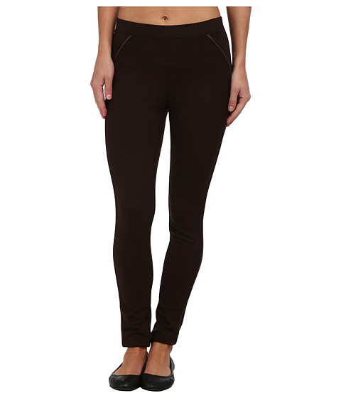HUE - Ponte Leggings with Leatherette Piping (Espresso) Women