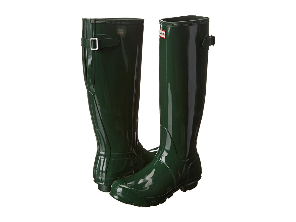Hunter - Original Back Adjustable Gloss (Green) Women's Rain Boots