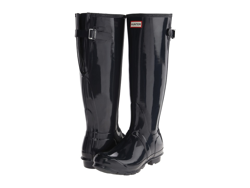 Hunter - Original Back Adjustable Gloss (Navy) Women's Rain Boots