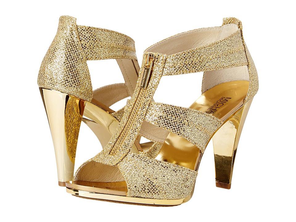 MICHAEL Michael Kors - Berkley T Strap (Gold Glitter) High Heels