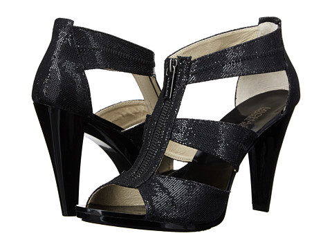 MICHAEL Michael Kors - Berkley T Strap (Black Glitter) High Heels