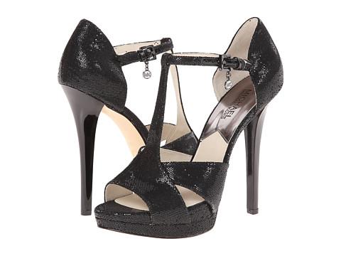 MICHAEL Michael Kors - Diana T - Strap (Black Glitter) High Heels