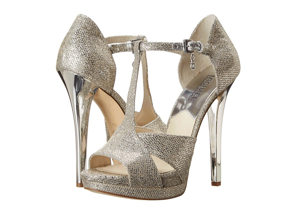 MICHAEL Michael Kors - Diana T - Strap (Silver Glitter) High Heels