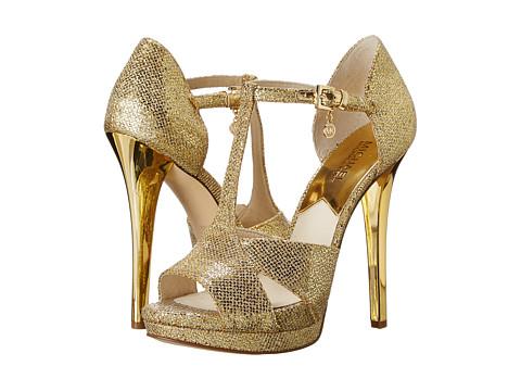 MICHAEL Michael Kors - Diana T - Strap (Gold Glitter) High Heels