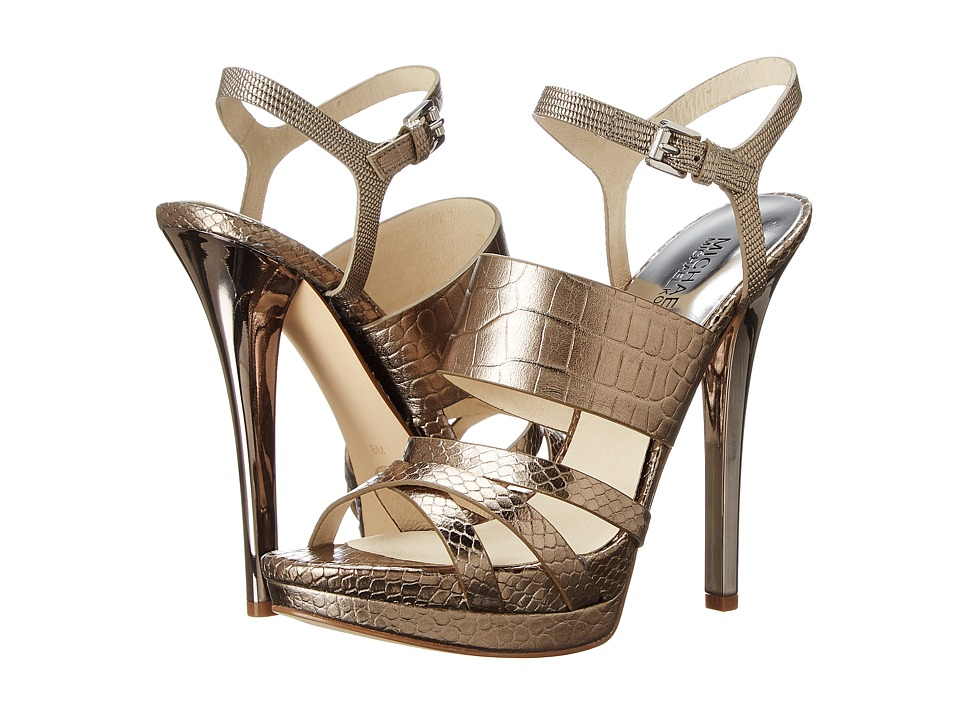 MICHAEL Michael Kors Nadja Platform (Nickel Metallic Croco/Metallic Snake/Embossed Lizard Specchio) High Heels