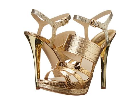 MICHAEL Michael Kors - Nadja Platform (Pale Gold Metallic Croco/Metallic Snake/Embossed Lizard Specchio) High Heels