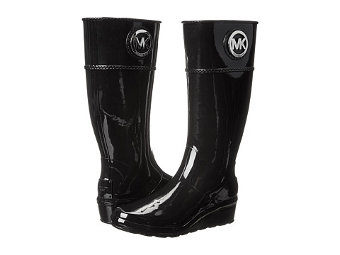 MICHAEL Michael Kors - Stockard Wedge Rainboot (Black Rubber) Women's Rain Boots