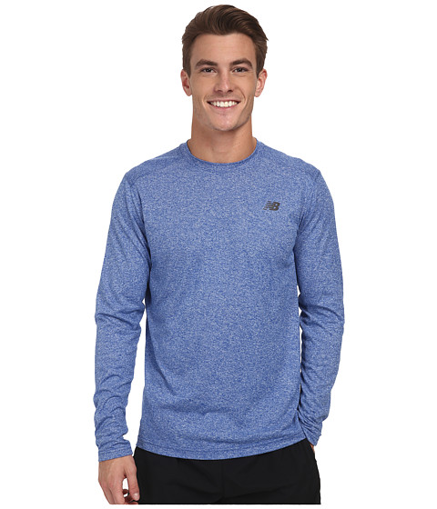 New Balance - L/S Heather Tech Tee (Optic Blue Heather) Men's Long Sleeve Pullover
