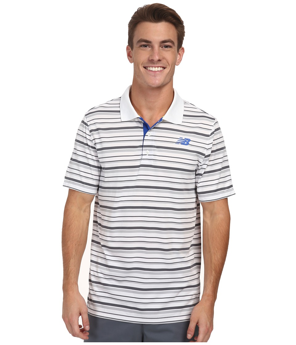 New Balance - Tournament Striped Polo (White) Men's Short Sleeve Pullover