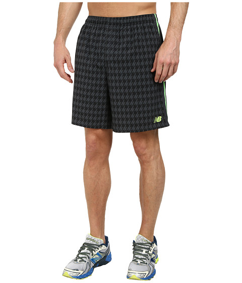 New Balance - Challenger 7 Print Court Short (Black/Chemical Green) Men's Shorts