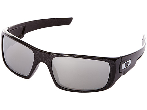 Oakley - Crankshaft (Chrome Iridium Polarized w/ Black W/Silver W/Text) Fashion Sunglasses