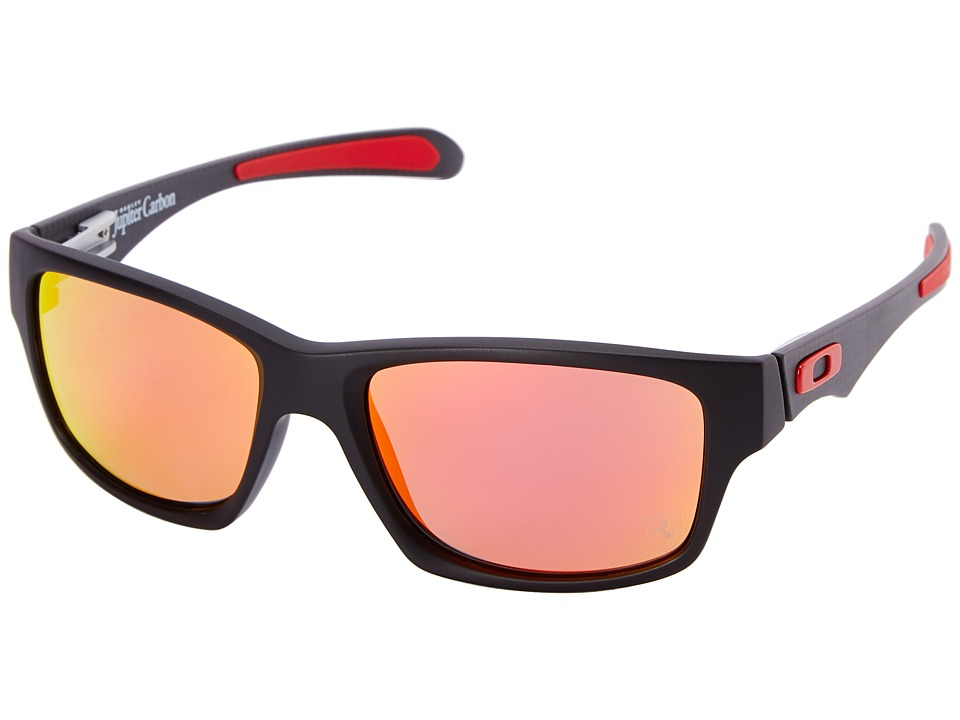 Oakley - Jupiter Carbon (Ruby Iridium Polar w/ Matte Black) Plastic Frame Sport Sunglasses