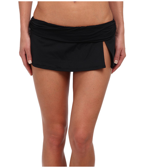La Blanca - Core Solid Slit Skirted Hipster w/ Shirred Waistband (Black) Women