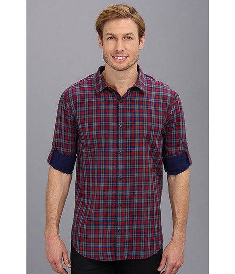 Elie Tahari - Double-Faced Plaid Steve Shirt J504U504 (Red Multi) Men's Long Sleeve Button Up