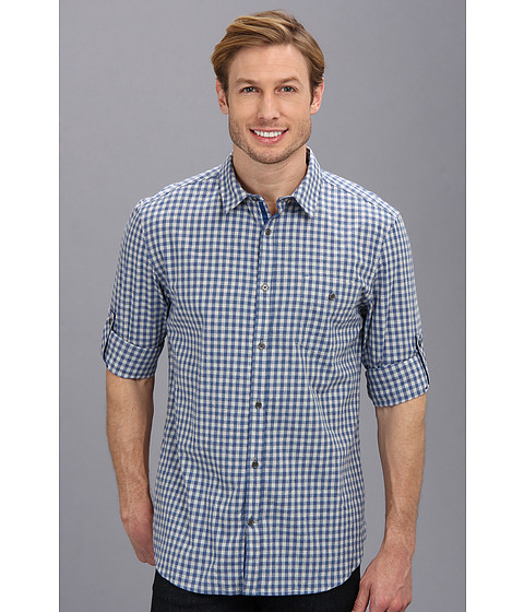 Elie Tahari - Small Check Steve Shirt J5059504 (Light Grey/Blue) Men