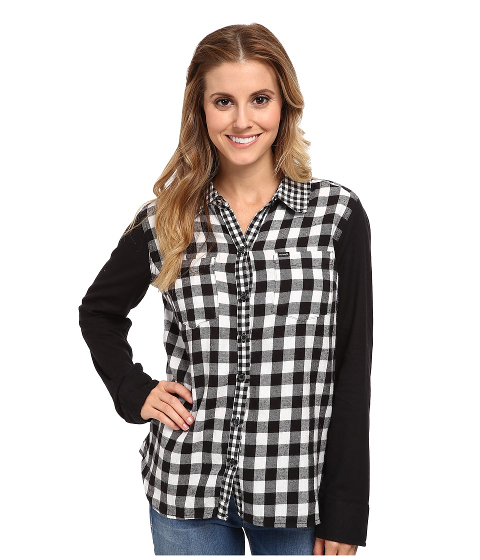 Hurley - Wilson L/S Button Up (White Check) Women's Long Sleeve Button Up