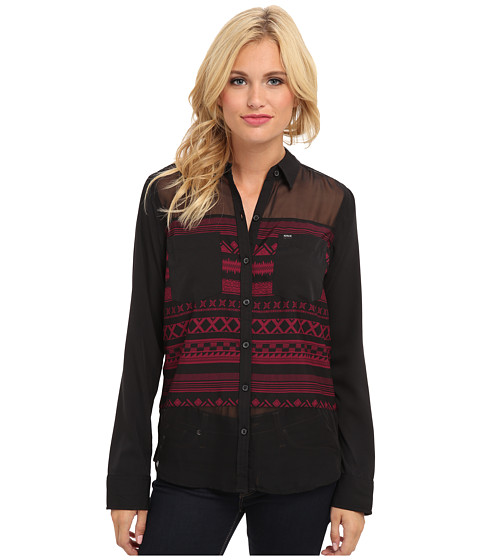 Hurley - Wilson Novelty L/S Button Up (Deep Garnet Shapes) Women