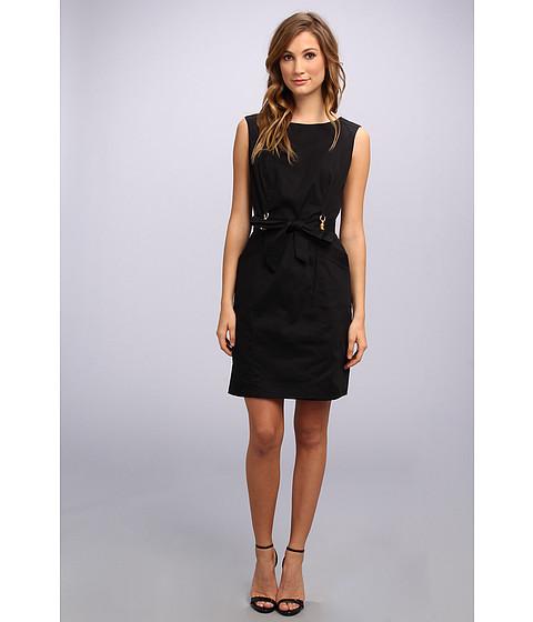 Ellen Tracy - Sleeveless Belted Sheath w/ Bamboo Hardware (Black) Women's Dress