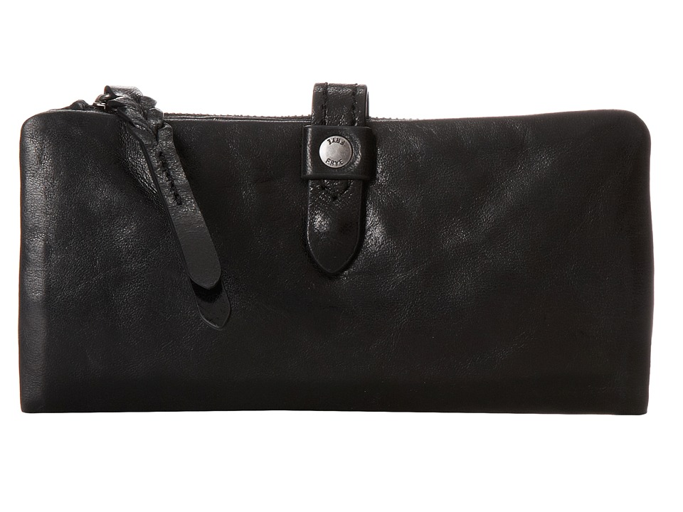 Frye - Josie Wallet (Black Washed Antique Pull Up) Wallet Handbags