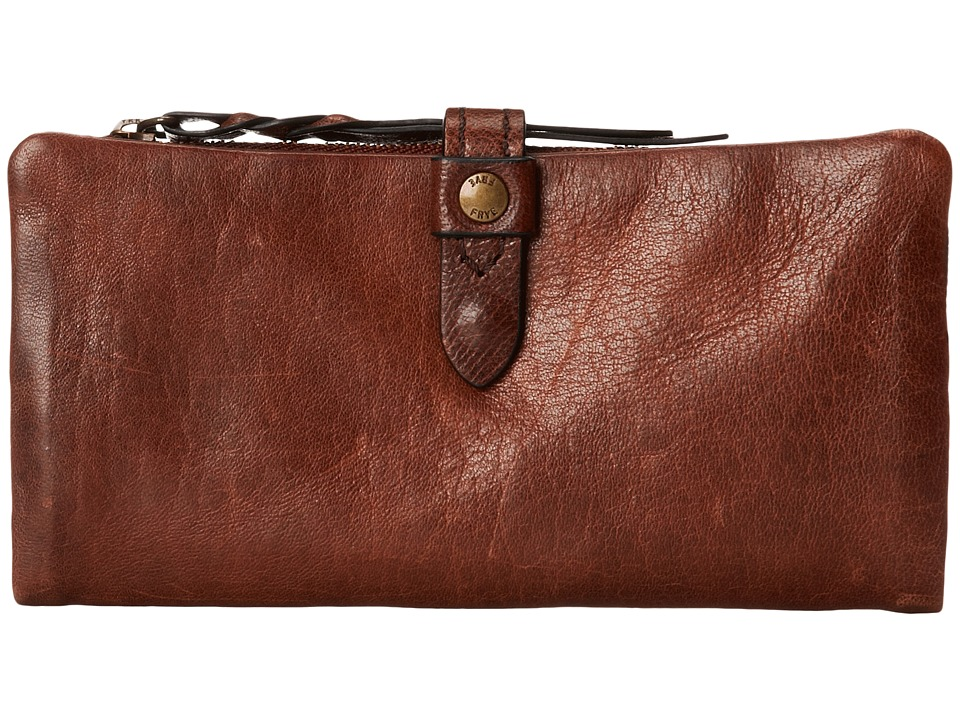Frye - Josie Wallet (Dark Brown Washed Antique Pull Up) Wallet Handbags