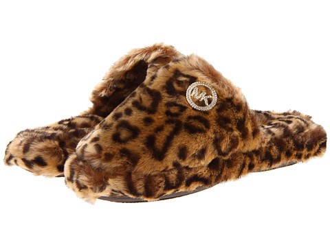 MICHAEL Michael Kors - Jet Set Mk Fur (Leopard Faux Fur) Women's Slippers