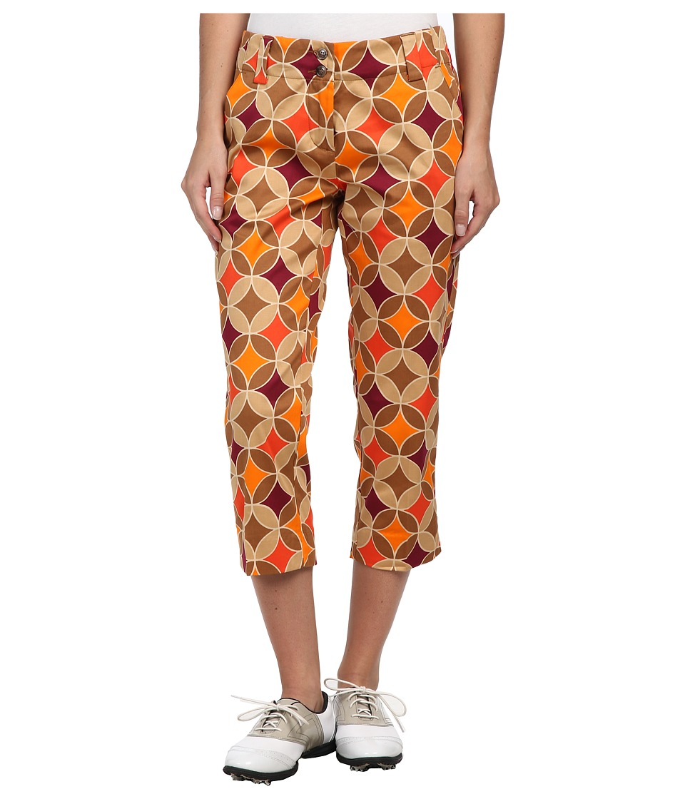 Loudmouth Golf - Havercamps Capri (Brown/Orange/Khaki) Women's Capri