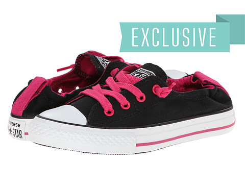 Converse Kids - Ctas Shoreline Slip-Ox (Little Kids/Big Kids) (Black/Cosmos Pink) Girls Shoes