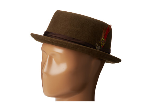 Brixton - Stout Pork Pie (Olive) Fedora Hats