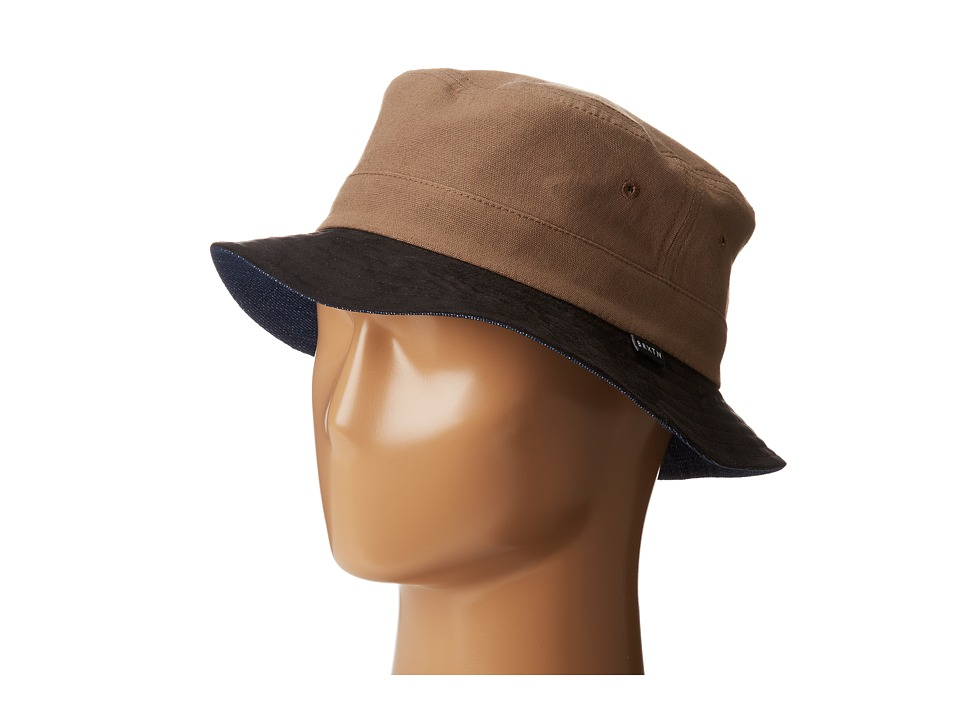 Brixton - Tull Bucket Hat (Reversible) (Brown/Navy) Bucket Caps