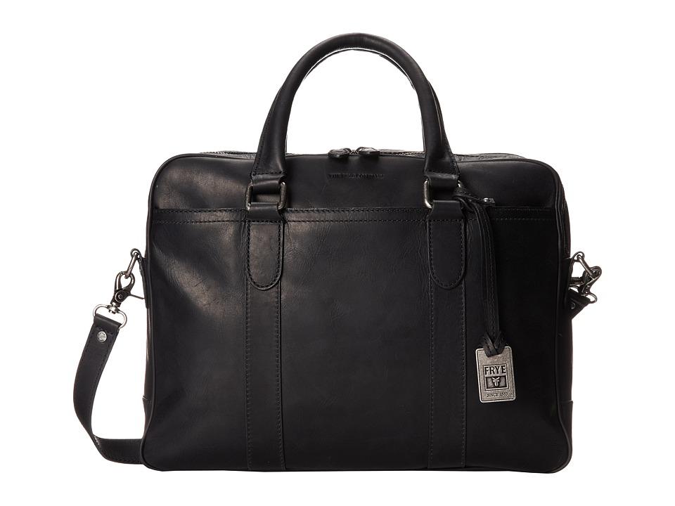 Frye - Logan Zip Work (Black Antqiue Pull Up) Handbags