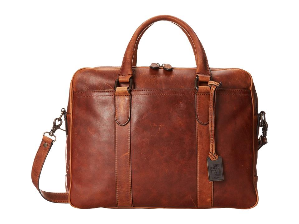 Frye - Logan Zip Work (Cognac Antqiue Pull Up) Handbags