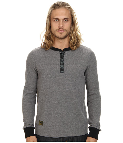 L-R-G - Youth Revolt L/S Henley (Charcoal Heather) Men